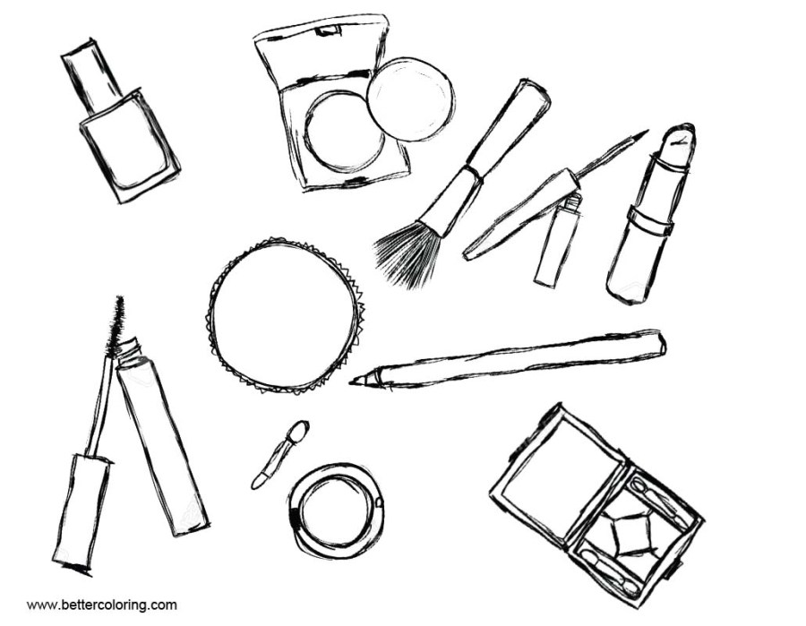 makeup brush page coloring pages