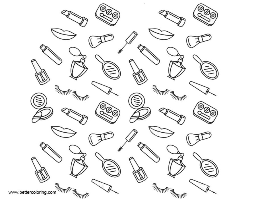 makeup coloring pages seamless pattern free printable
