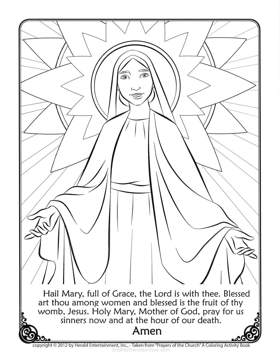 mary coloring page with the hail mary prayer printed