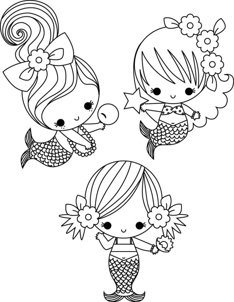 mermaids cute coloring pages