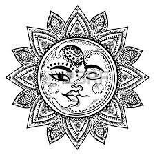 moon sun tattoo michelle sluder on coloring pages