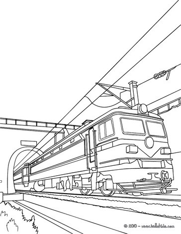 old electric train leaving a tunnel coloring pages