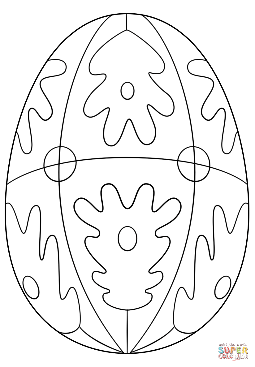 patterned easter egg coloring page free printable