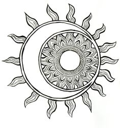 pop art sun moon and stars coloring page free
