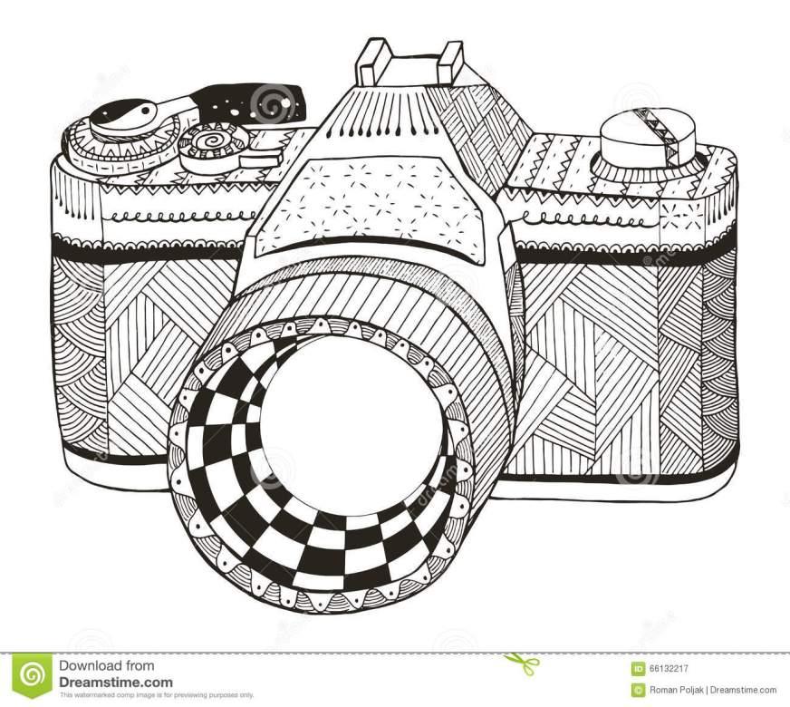 retro photo camera zentangle stylized vintage camera