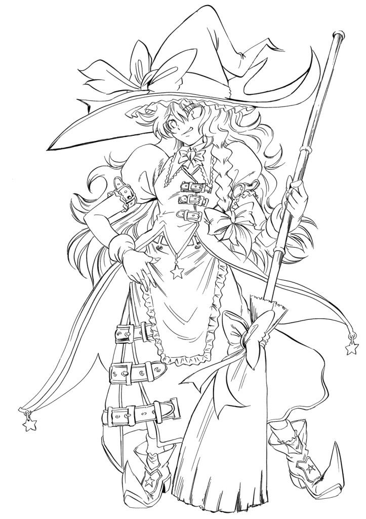 search results anime printable coloring pages witch