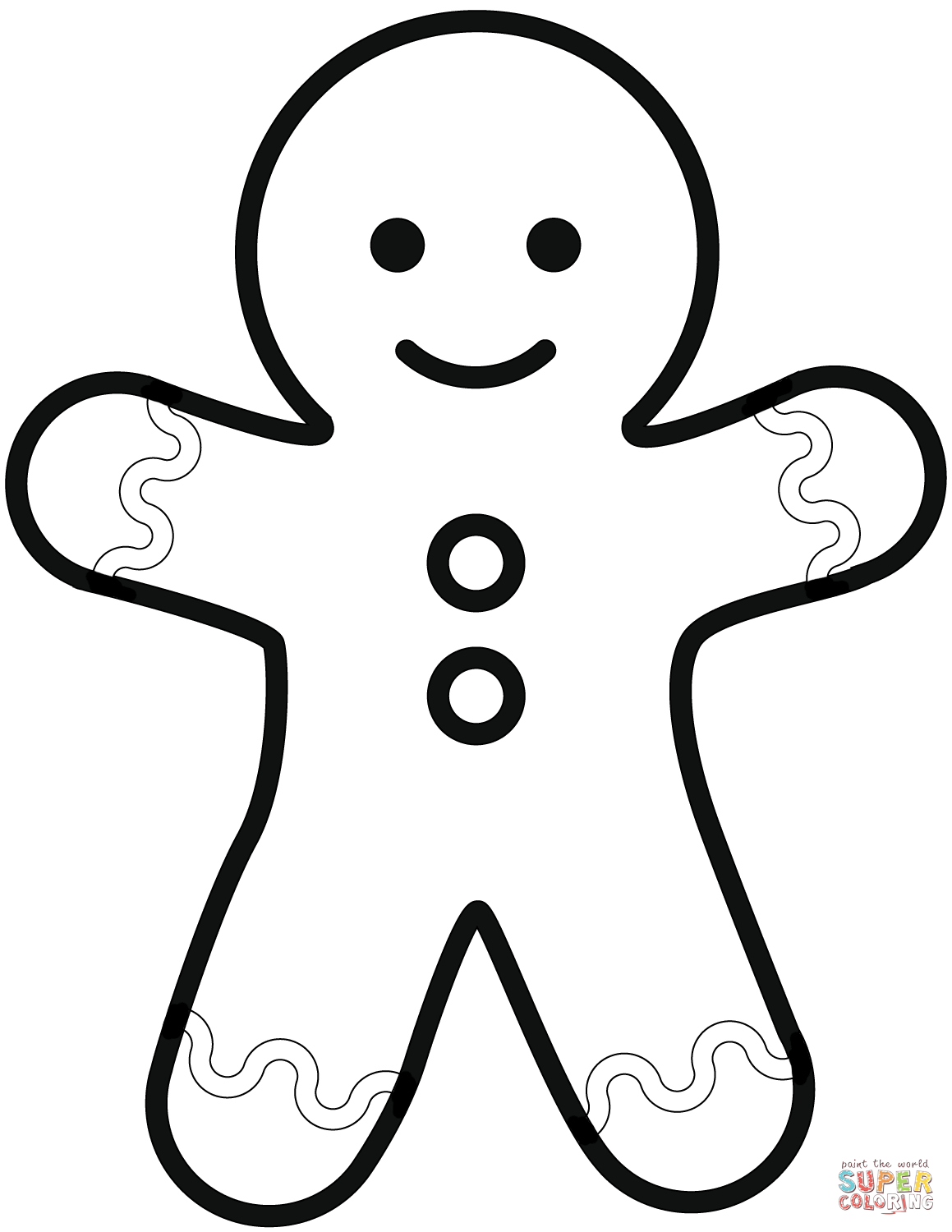 simple gingerbread man coloring page free printable