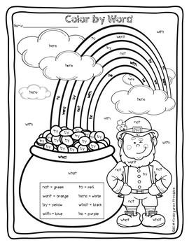 st patricks day color word kindergarten principles