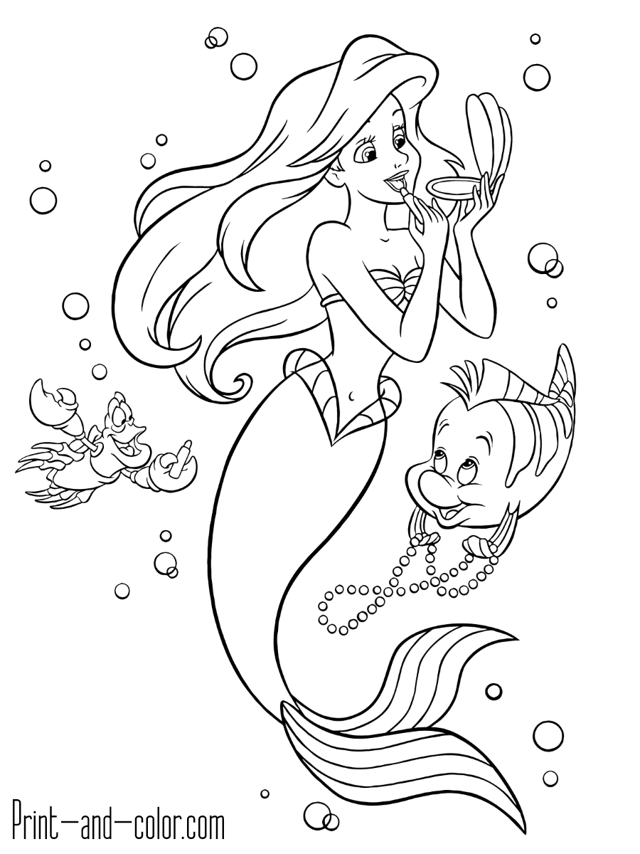 the little mermaid coloring pages print and color