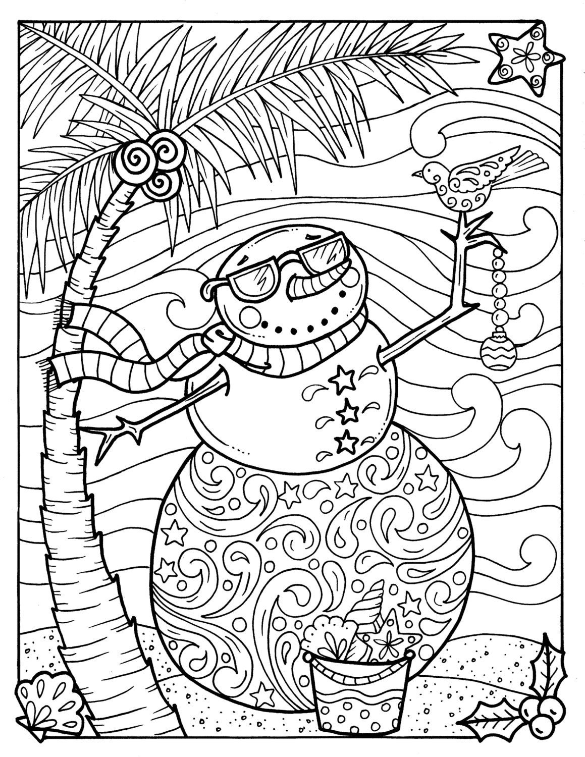 tropical snowman coloring page adult coloring beach holidays