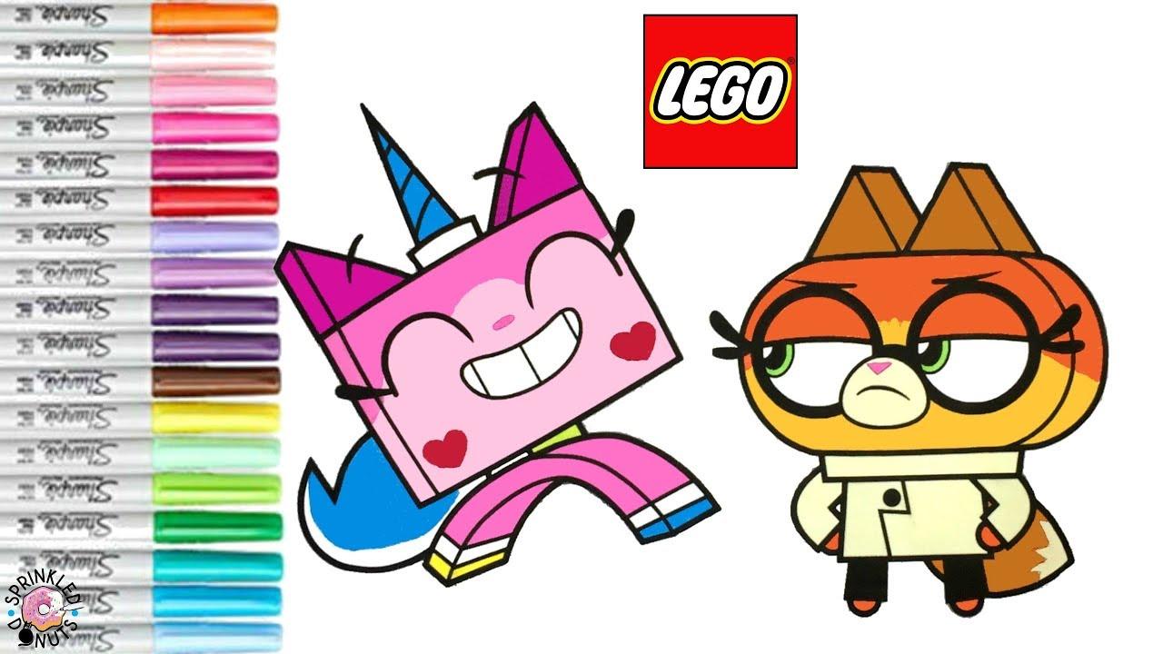 unikitty coloring book page lego unikitty dr fox cartoon