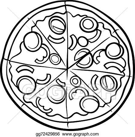 vector illustration italian pizza cartoon coloring page