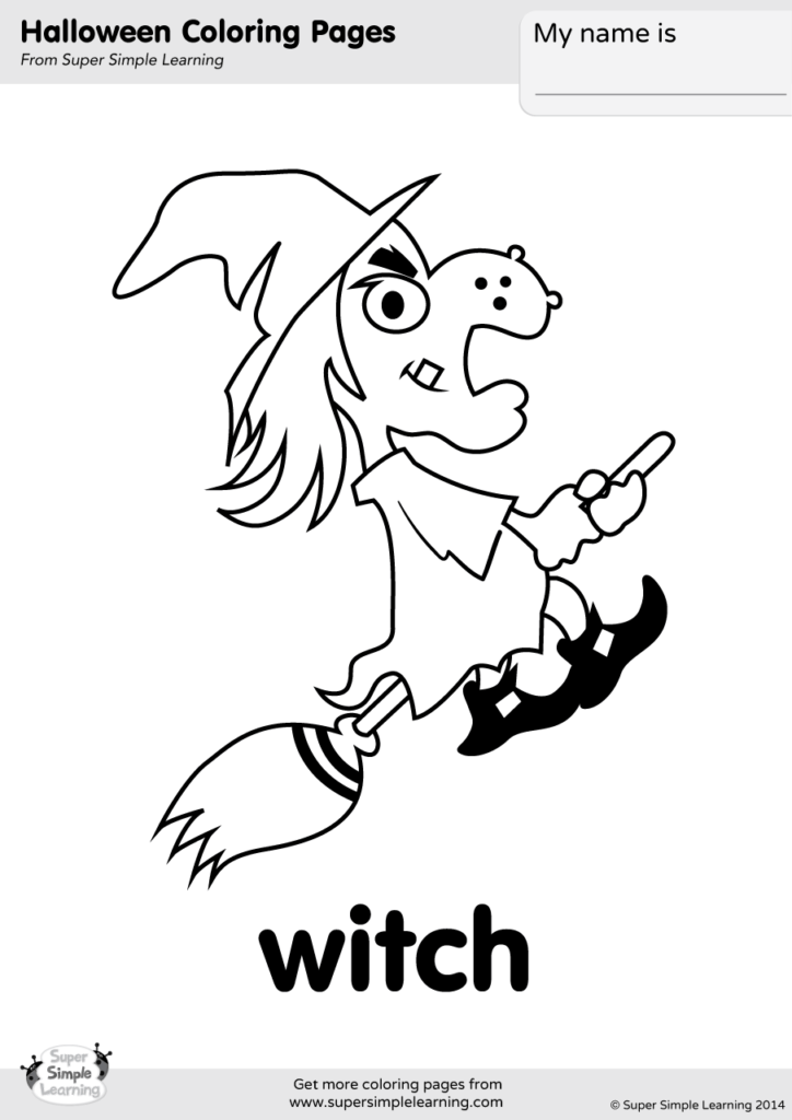 witch coloring page super simple