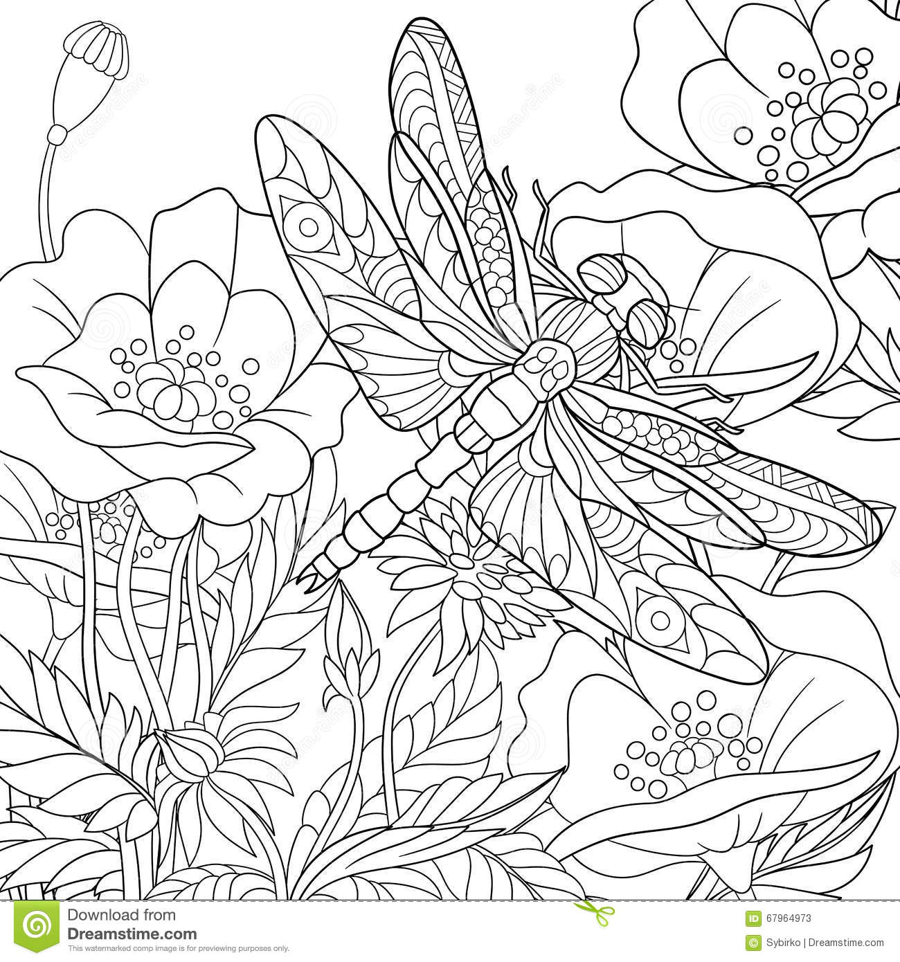 zentangle stylized dragonfly insect stock vector