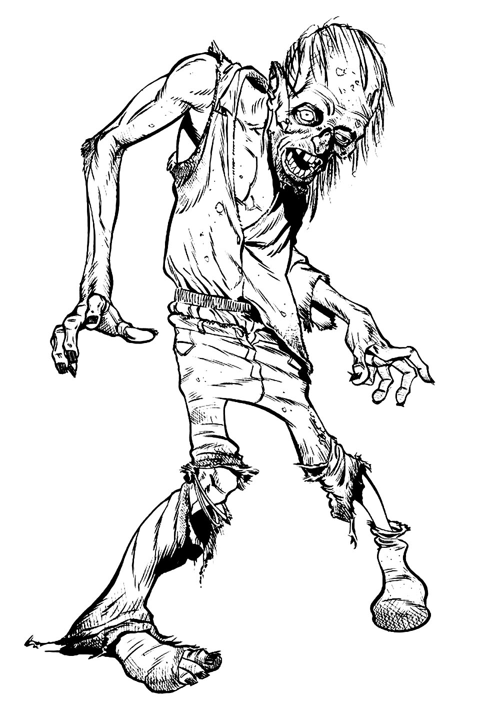 zombie walking halloween adult coloring pages