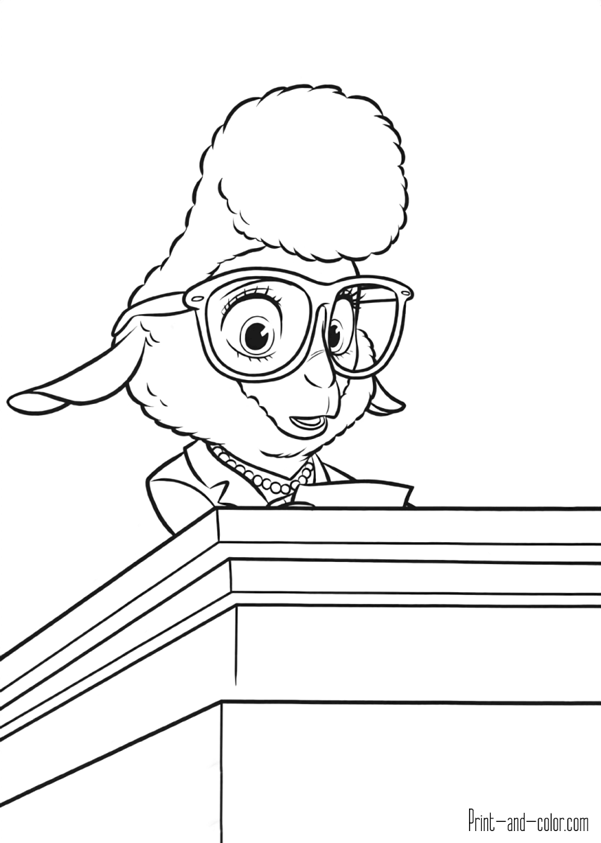 zootopia coloring pages print and color
