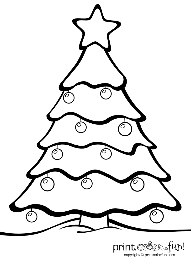 christmas tree with ornaments print color fun free