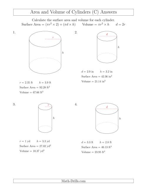 calculating surface area and volume of cylinders with