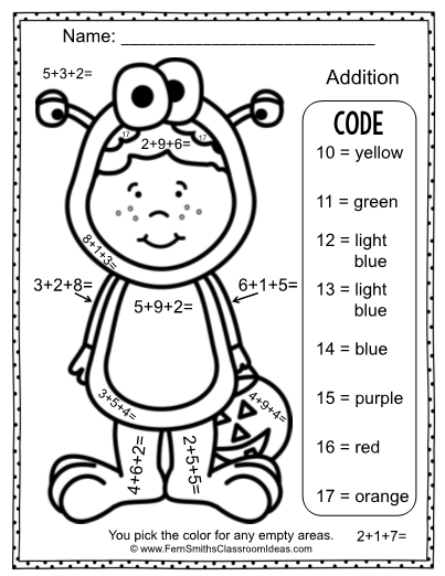 color numbers halloween addition three addends