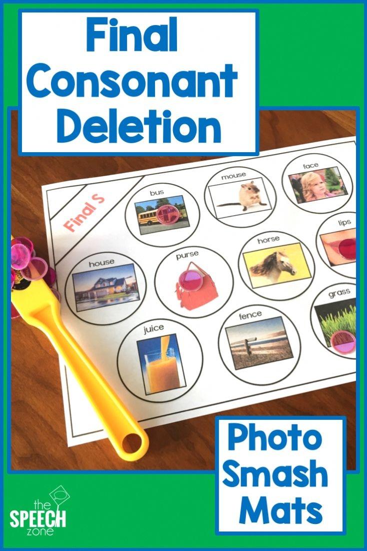 final consonant deletion photo smash mats preschool