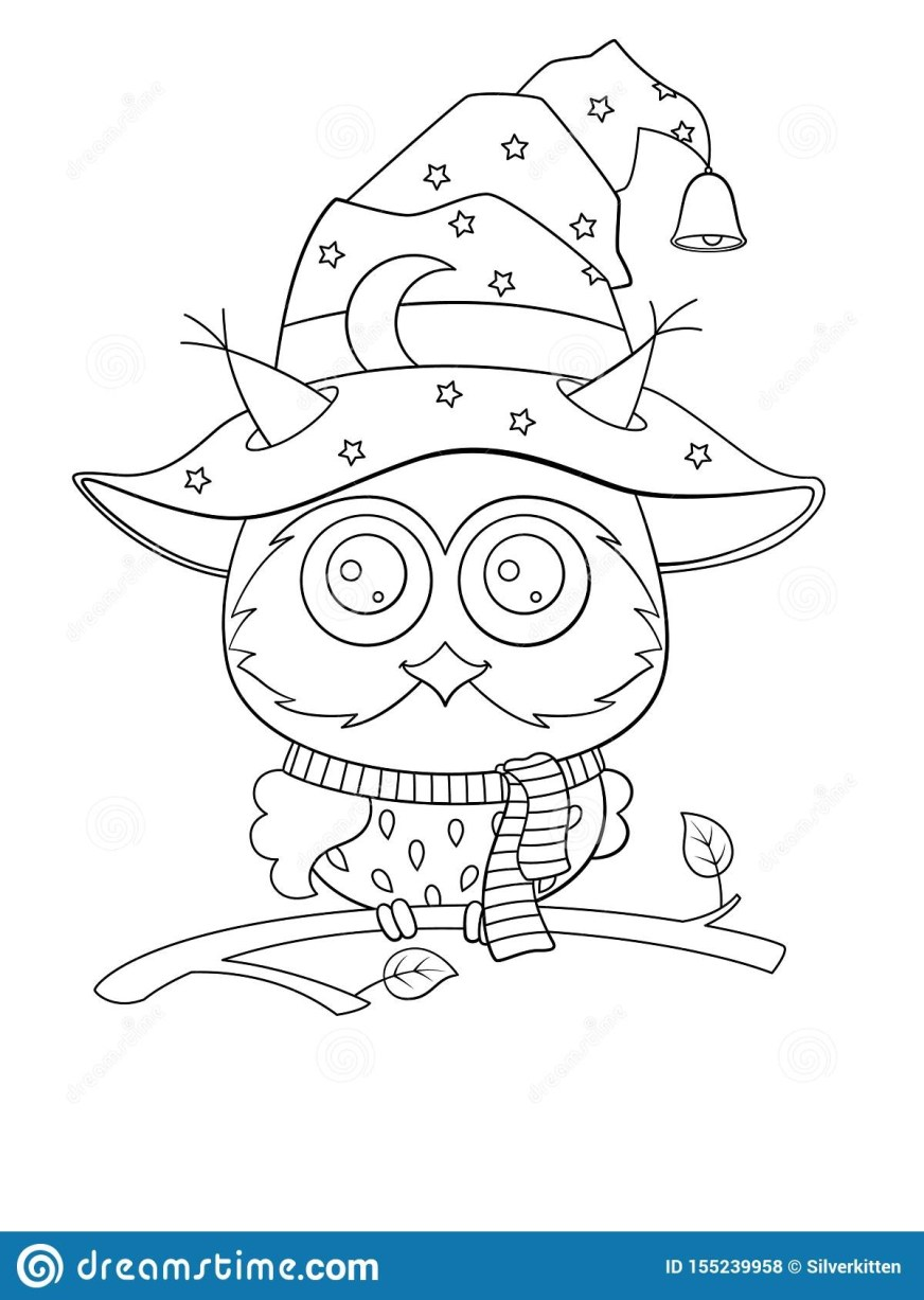 halloween coloring book page cute owl in the hat stock