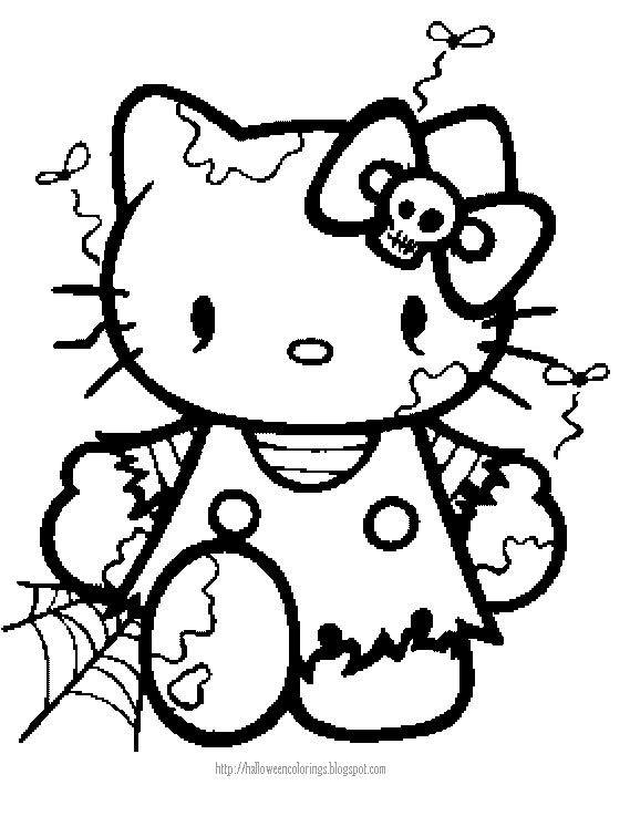 halloween coloring page of hello kitty hello kitty