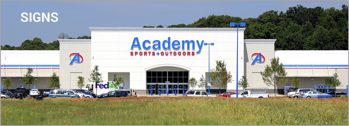 Academy store front signage and building signs