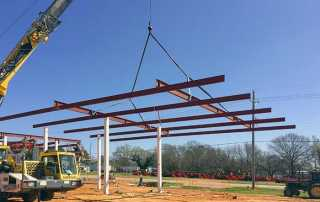 Gas canopy construction. Texas