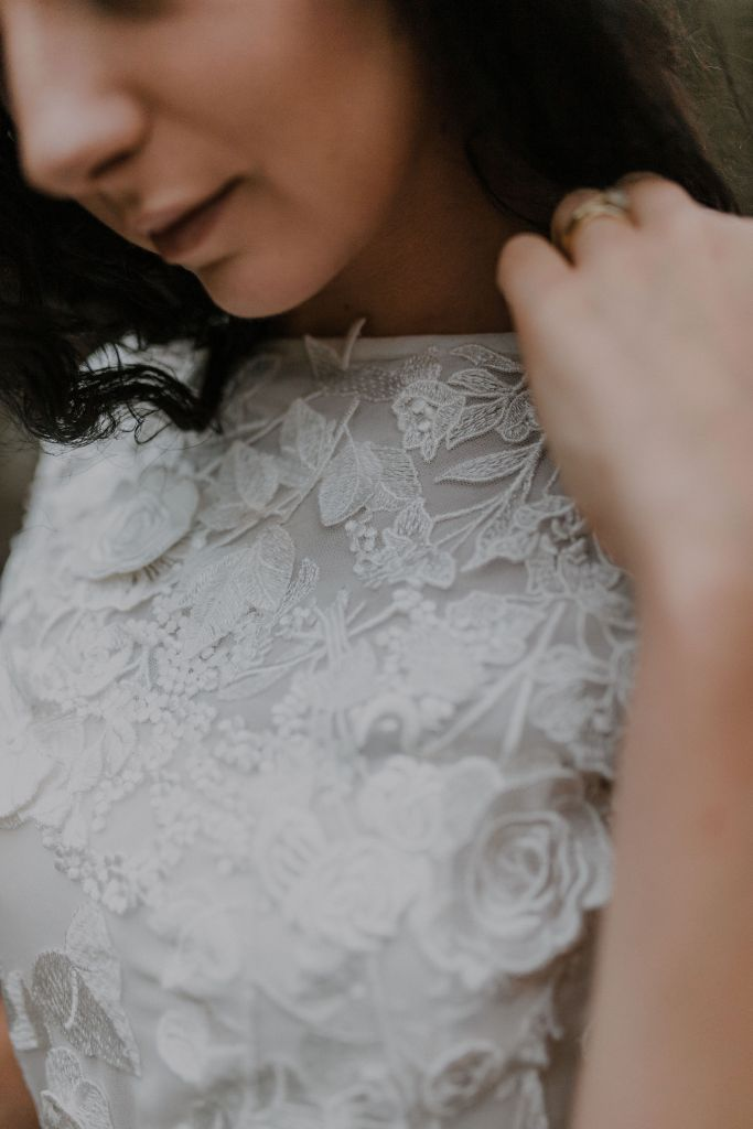 A close up of one of the bridal gowns by Tauranga designer White Silk Bridal