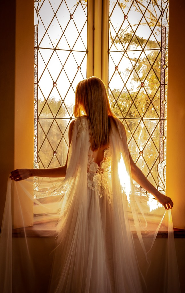 A woman stands in front of a Tauranga window whilst wearing one of the designer bridal gowns by White Silk Bridal