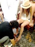 Getting proper Greek sandals made!