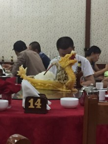 Took the girls to an authentic Chinese restaurant...that yellow dragon is one of the dishes they serve!