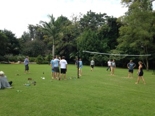 Enjoying an afternoon of friends and volleyball