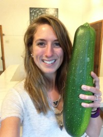 A giant zucchini from our garden!