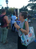 Enjoying a shwarma at the Stonetown open-air food market!