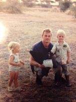 Colton with his Dad and younger sister - Africa 1990's