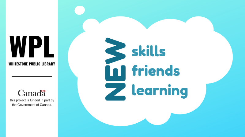 "White Cloud on Blue Background, inside the cloud is the text, ""New Skills, Friends, Learning""."