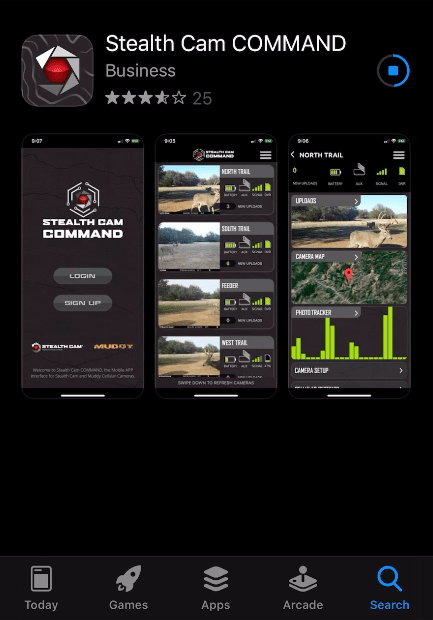 Screen shot of Stealth Cam Command App in App Store