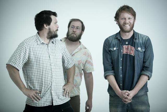 Minneapolis trio, Gypsy Lumberjacks pose at The White Wall studio in Sioux Falls