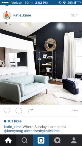 Katie Kime -- Black accent wall