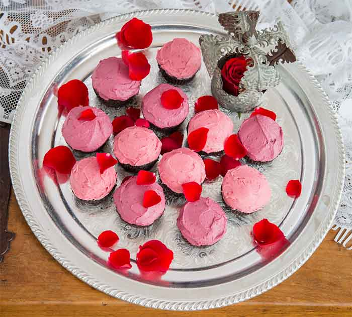 Red Velvet Beet Cupcakes with Raspberry Icing