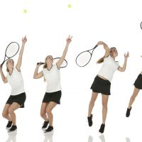 Multiple images of a tennis player in action