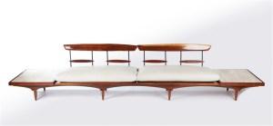 Phillip Lloyd Powell, Sculpted Walnut & Travertine Sofa, 1960s, Todd Merrill Antiques