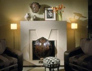 art deco building fireplace