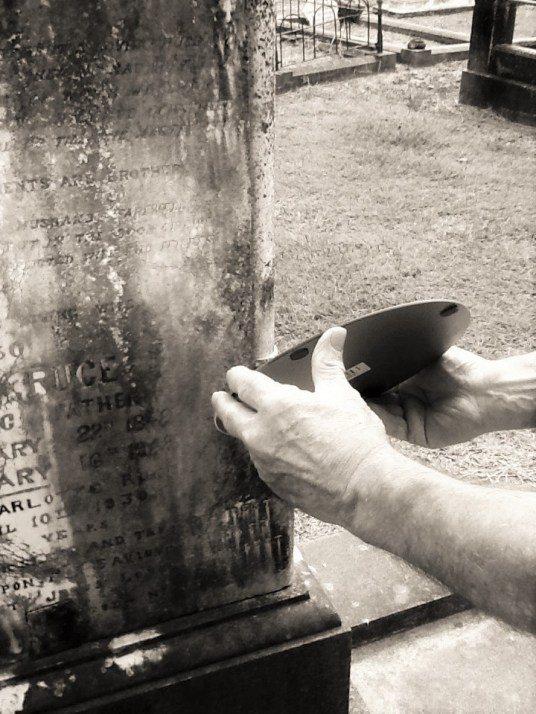 Using Mirror to read headstone