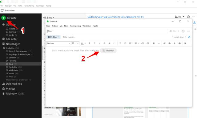 Sådan får man adgang til Evernote's indbyggede skabeloner. Opret en ny note og åbn skabelongalleriet.