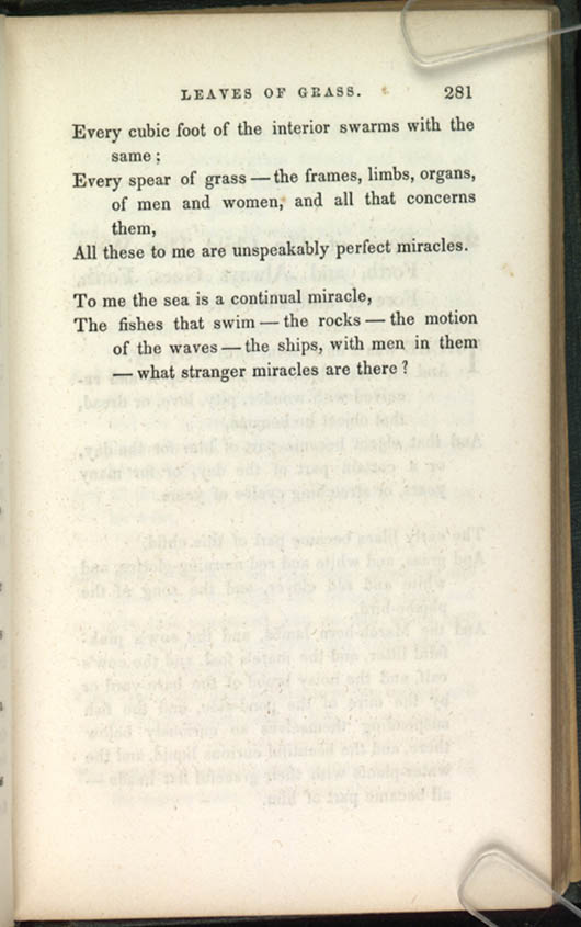 24 Poem Of Perfect Miracles Leaves Of Grass 1856 The Walt Whitman Archive