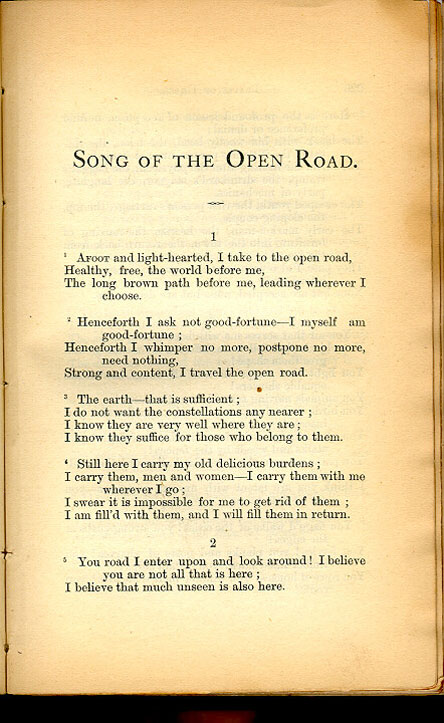 SONG OF THE OPEN ROAD  Leaves of Grass 1867  The