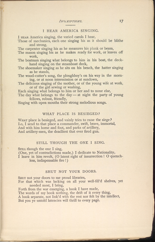I Hear America Singing Leaves Of Grass 1891 1892