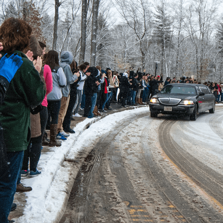 The entire  school gave WHRHS junior Liam Talbot, 17, a giant send off on his surprise trip to meet his favorite musician, rock star Gavin DeGraw, in Florida. Photo by Stephanie Spyropoulos.